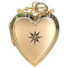 Antique 15k Gold Heart Shaped Locket Pendant