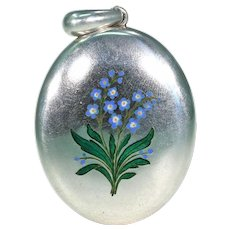 Large Victorian Silver Enamel Forget-me-not Locket Pendant