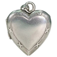 Antique French Embossed Silver Heart Locket Pendant