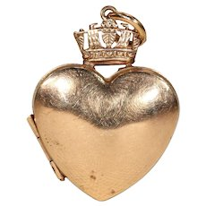 Victorian Gold Crowned Heart Locket Pendant