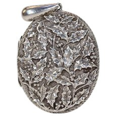 Beautiful Victorian Silver Repousse Holly Locket