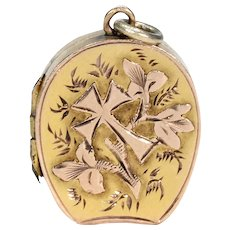 Antique Victorian Gold Flowers and Cross Locket