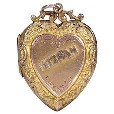 Victorian Gold Mizpah Heart Locket Pendant