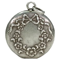 Antique French Silver Locket Bows and Flowers