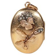 Lovely Victorian Pansy Locket Pearl Gold