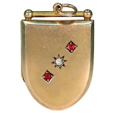Victorian Ruby Diamond Shield Shaped Locket Pendant