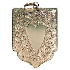 Victorian Engraved Gold Locket Shield Heart