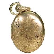 Romantic Victorian 15k Gold Locket with Love Birds and Ivy