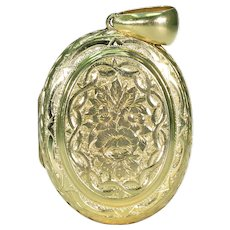 15k Gold Victorian Engraved Oval Locket Pendant