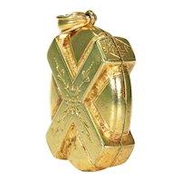Unusual English Victorian 15k Gold Locket Pendant