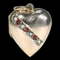 Antique Victorian Locket Heart Shaped with Pearls and Garnets