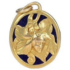 Art Nouveau French 18k Gold Locket Pendant Woman in Flower