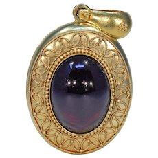 Victorian Etruscan Revival Large Cabochon Garnet Locket Pendant 15k Gold