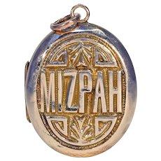 Victorian Gold Mizpah Locket Pendant