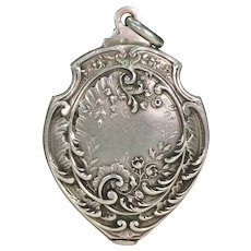 Antique French Silver Slide Locket Pendant Floral Motif