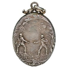 Antique French Silver Locket Pendant Romeo and Juliet Theme