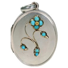 Victorian Silver Turquoise Forget-me-not Locket Pendant