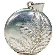 Antique French Holly Motif Locket Pendant Silver