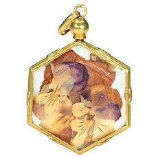 French Neoclassical Crystal Locket Pendant 18k Gold Pansies