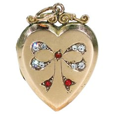 Victorian Paste Set Gold Locket Bow Red White