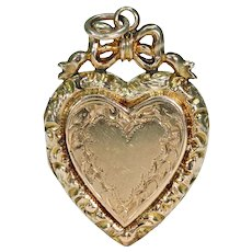 Victorian Heart and Bow Gold Locket Pendant