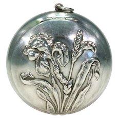 Art Nouveau Silver Repousse Irises Pill Box Locket Pendant