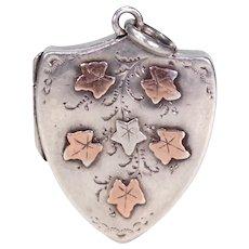 Antique Edwardian Shield Locket with Ivy Motif
