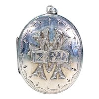 Mizpah Silver Locket Engraved Front and Back
