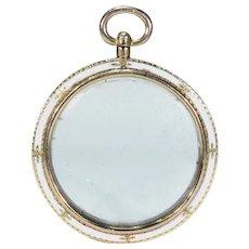 Antique Victorian White Enamel Gold Frame Locket