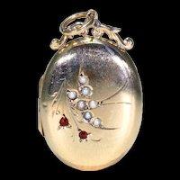 Antique Gold Victorian Pearl Bird Locket