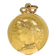 Antique Art Nouveau Diamond Gold Slide Locket 18k French