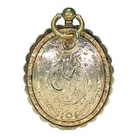 Ornately Engraved Gold Georgian Locket with Portraits