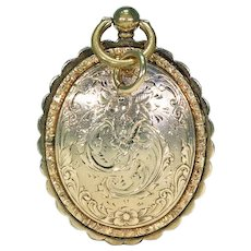 Ornately Engraved Gold Georgian Locket with Portraits