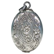 Antique Art Nouveau Silver Slide Locket Pendant Mirrors