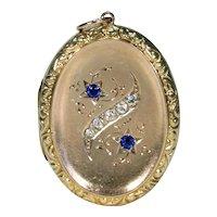Antique Victorian Paste Locket 9k Gold Back and Front