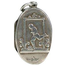 Victorian Silver Soccer Football Locket Pendant