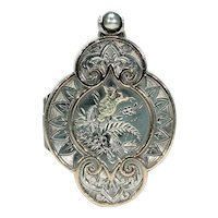 Stunning Silver Victorian Locket Gold Accents