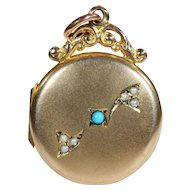 Antique Victorian Turquoise and Pearl 9k Gold Locket
