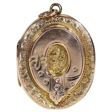Victorian Garter and Shield Gold Locket