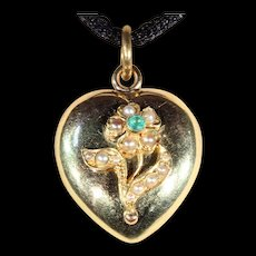 Antique Victorian Heart Shaped Emerald and Pearl Locket in 15k Gold