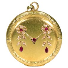 Antique French 18k Gold Locket Ruby Pearl Belle Époque