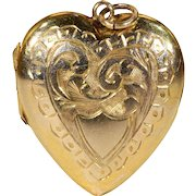 Victorian Engraved Gold Heart Locket