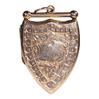 Antique Victorian Shield Shaped Locket with Photos, 9k B&F