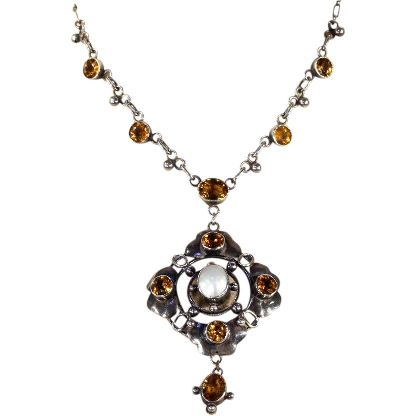 Antique arts crafts era citrine and pearl necklace in for Pearl arts and crafts closing