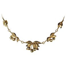 Vintage 50s Cherries on Stems Gold Necklace, 18k Gold