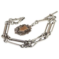 Antique Victorian Sterling Silver Watch Chain Necklace with Two Tone Fob and T Bar