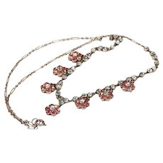 Antique Edwardian Pink and White Paste Necklace in Silver