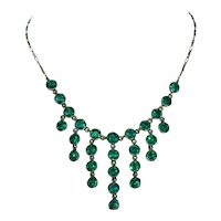 Antique Emerald Green Paste Silver Necklace