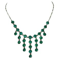 Antique Emerald Green Paste Silver Necklace