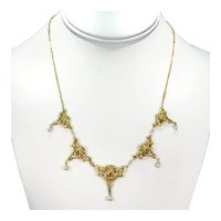 Stunning French Art Nouveau Pearls Roses Necklace 18k Gold Heavy